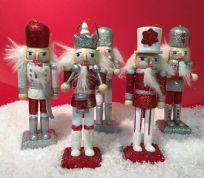 Set of 5 Traditional Nutcracker Soldiers with Opening Mouths ~ Christmas Tree Decoration